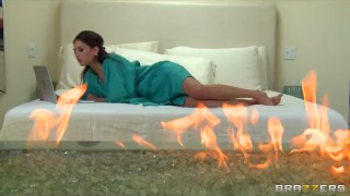 Stunning natural brunette Dani is fucked her fiery redhead GF