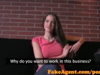 Preview 2 of FakeAgent Failed swimwear model tries Casting interview for work