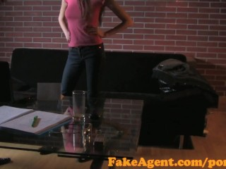 Preview 4 of FakeAgent Failed swimwear model tries Casting interview for work