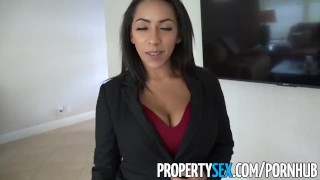 PropertySex -Busty real estate agent offers client blowjob and sex