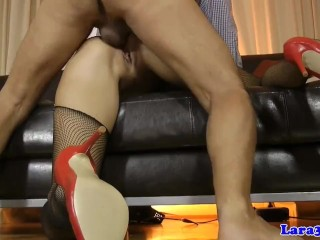 Preview 5 of Glamour milf licks cum of assfucked eurobabe