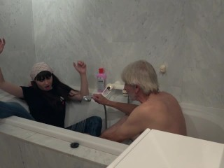 Preview 1 of Old Young cleaning lady gets fucked by wrinkled grandpa and swallows cum