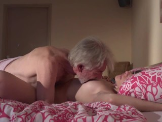 Preview 5 of Old Young cleaning lady gets fucked by wrinkled grandpa and swallows cum