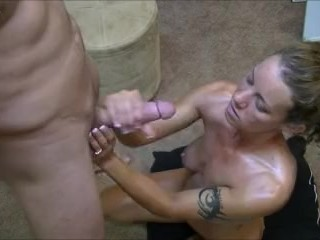 Preview 2 of Hotwife gives 2 handjobs to husband while telling him about her gangbangs