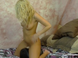 Preview 6 of SYBIAN RIDE - Sexy Blonde Emily Austin Test Rides Our Sybian! BTS-SideView!