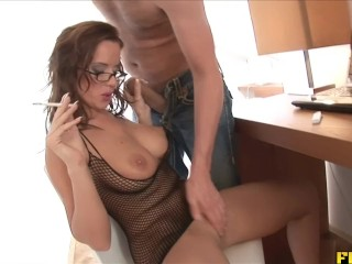 Preview 2 of Smoking slut gets her daily dose of semen