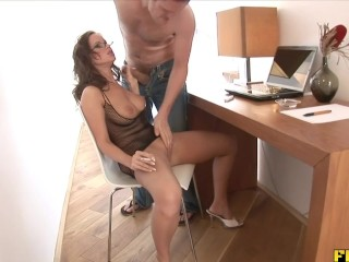 Preview 3 of Smoking slut gets her daily dose of semen