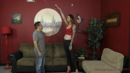 6 foot 3 Rocky Emerson Dominates Her Short Roommate - Femdom & Ass Worship