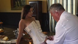 Teen princess fucks the old butler in the hall room