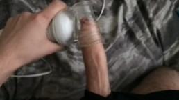 MASSAGE WAND MAKES BIG UNCUT COCK CUM HARD WITH LOUD MOANING