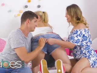 Preview 3 of BABES - Young Stepmom and Blonde Stepdaughter Share