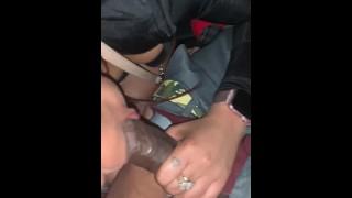 Blowjob in the backseat of a FULL passenger car! No fucks givin!