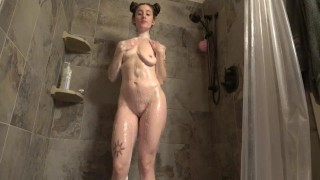 Sexy Wife Washes and Plays in Shower