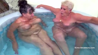 Mature plumpers playing in the pool